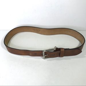 Brown Leather Basic Belt Silver Buckle sz 38